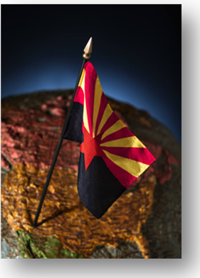 Arizona Flag with North America in the background